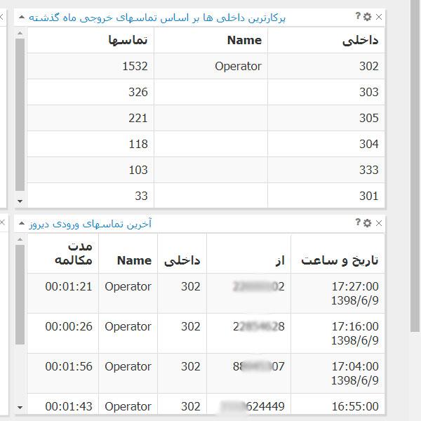 مشاهده لیست شماره های تماس گرفته شده